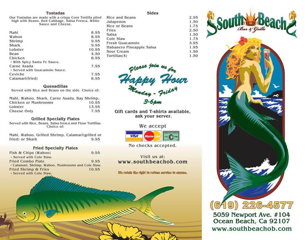 South Beach Bar & Grille - Tri-Fold Menu Outside